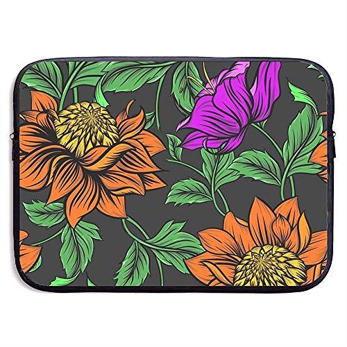 Bloemen Achtergrond Tekening Illustratie Natuur 15 Inch Laptop Sleeve Tas Draagbare Rits Laptop Tas Tablet Tas