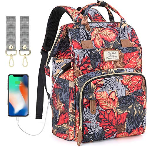 Diaper Bag Backpack with USB Charging Port and Stroller Straps, Maternity Nappy Bag with Insulated Feeding Bottle Pocket (Maple Leaf)