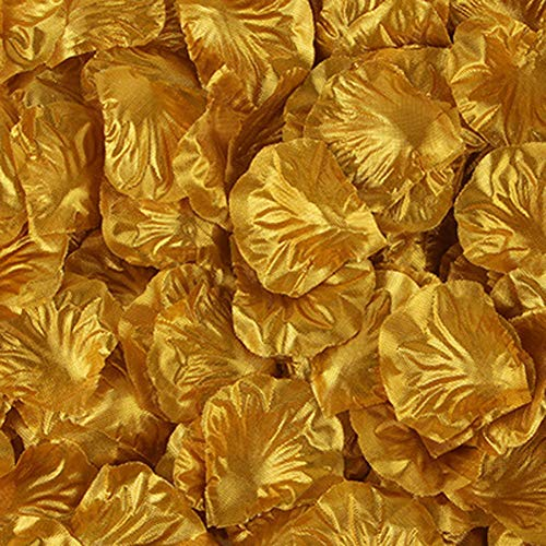 HEZHU 1000Stk Gold Rosenblätter Blütenblätter Hochzeit Streudeko Rosenblüten Party (Gold)