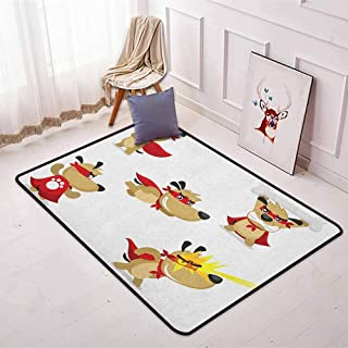 Dog Regional Round Carpet Superhero Puppy with Paw Costume and Mystic Powers Laser Vision Supreme Talents Non-Slip Easy to Clean W35.4 x L47.2 Inch Red Cream White