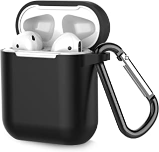 Coffea Airpods Case, AirPods Accessories Shockproof Case Cover Portable & Protective Silicone Skin Cover Case for Airpods 2 & 1 (Front LED Not Visible) - Black