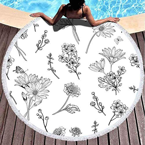 Runder Handtuch Strand, Mädchen Strandtuch Schöne Vintage Muster Blaue Blumen Weißer Hintergrund Garten Astern 59 '