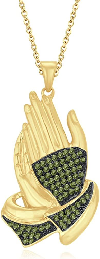 HN Jewels 1.35Ct Round Cut Lab Created Diamonds 10K Yellow Gold Plated 925 Silver Prayer Hands Pendant Necklace