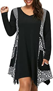 BODOAO Womens Plus Size Dress Long Sleeve V-Neck Asymmetrical Mini Dress with Pockets