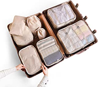 Storage Bag 8pcs/set Luggage Packing Clothes Organizer Dustproof Space Saving Women Underwear Shoes Simple Accessory Solid Zipper Travel Pouch Gift(Pink)