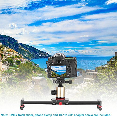 Neewer Camera Slider Aluminum Alloy Dolly Rail,16 inches/40 Centimeters with 4 Bearings for Smartphone Nikon Canon Sony Camera, Load up to 12 pounds/ 5.44 kilograms