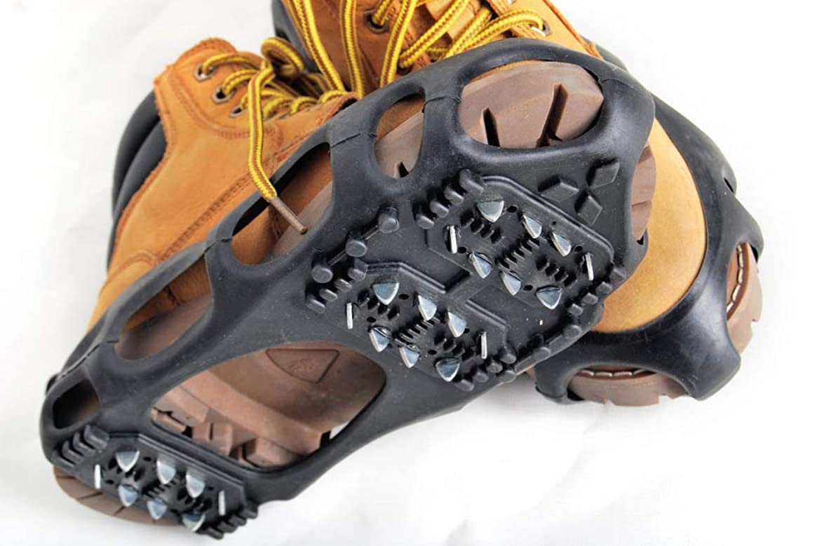 Kongland Shoes Protector Walk Traction Cleats on Ice and Snow, One Pair Elastic Rubber with Steel Cleats for Climbing and Hiking, Snow Cleats for Better Balance and Grip