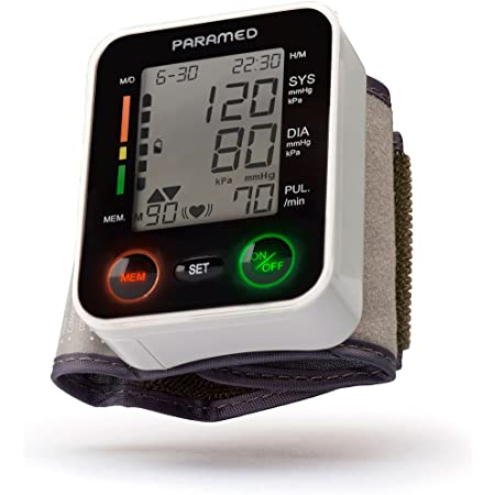 PARAMED Automatic Wrist Blood Pressure Monitor: Blood-Pressure Kit of Bp Cuff + 2AAA and Carrying case - Irregular Heartbeat Detector & 90 Readings Memory Function & Large Display