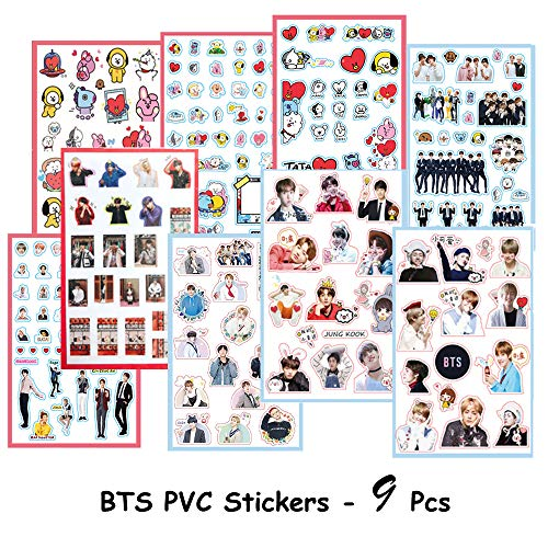 BTS Laptop Pack Stickers 9pcs for Bangtan Boys Luggage Graffiti Patches,Gift for Army Grils and Daughters (BTS-PVC-9pcs)