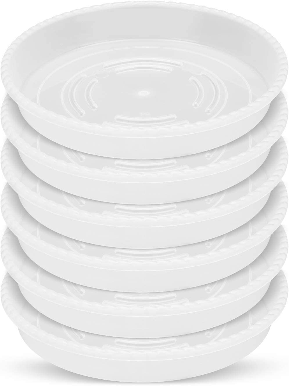 GROWNEER 12 Packs 10 Inches Thickened Clear Plant Saucer Drip Trays, with 15 Pcs Plant Labels, Plastic Round Plant Pot Saucers for Bedroom Living Room Porch Patio Indoor Outdoor Garden