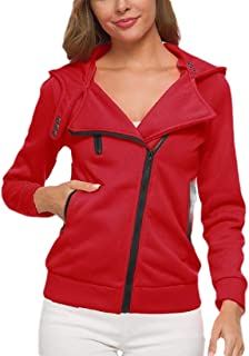 Women Long-Sleeve Oblique Zipper Slim Fit Hoodie Jacket