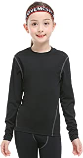 TOURME Girls Boys Compression Soccer T-Shirt Long Sleeve Kids Sun Shirts