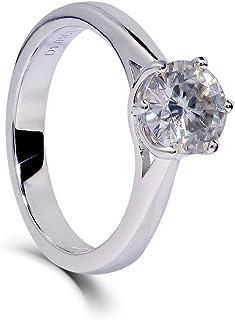 TransGems 镀铂金纯银卓越切割莫桑石戒指,1 克拉,H-I 颜色女款