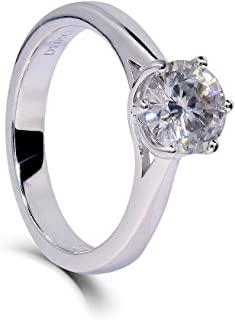Platinum Plated Silver 1ct 6.5mm H-I Color Heart Arrows Cut Moissanite Engagement Ring Solitare for Women