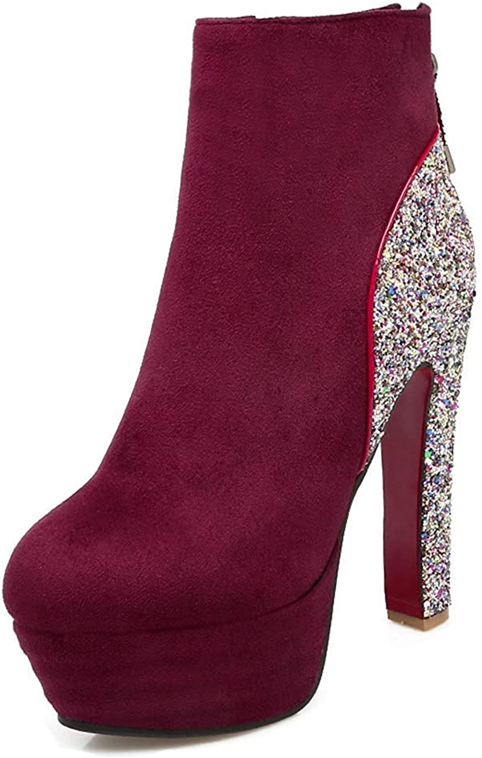 Unm Women's Bling Sequins Inside Zip Up Dress Chunky High Heel Booties Round Toe Platform Ankle Boots with Zipper