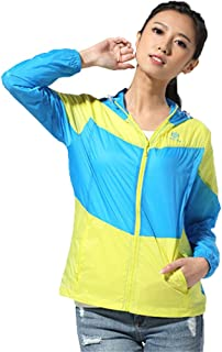 Summer Outdoor Sports Skin Windbreaker Sunscreen Clothing Woman Blue Skin Clothing Fishing Suit Windproof Jacket Cloth (Color : Blue, Size : S)