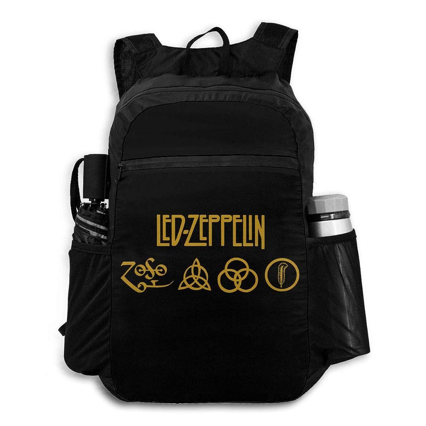多数の中性かすかな折り畳み式パックバック アウトドアバックパック 超軽量 Led Zeppelin レッドツェッペリン (2) おしゃれ 大容量 防水 耐久性 収納ナップサック多機能 旅行 便利グッズ 買い物用 通学 通勤 登山 男女兼用
