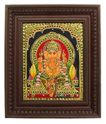 Chola Impressions Ganesh Tanjore Painting (13*11)