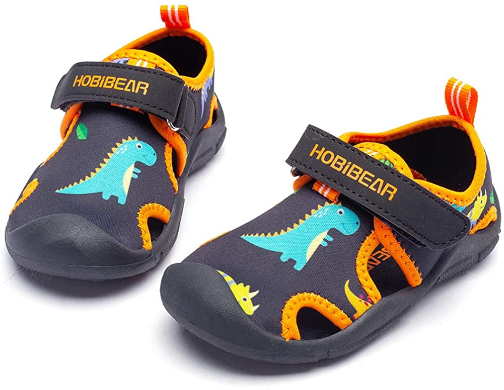 HOBIBEAR Boys Girls Water Shoes Quick Dry Closed-Toe Aquatic Sport Sandals Toddler/Little Kid