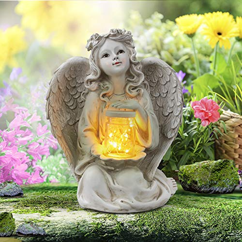 Giftchy Guardian Angel Garden Statue, Solar Lights Angel Decorations for Home, Resin Garden Decor for Outside & Memorial Gifts (9.375' H)