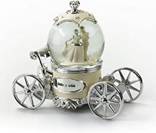 MusicBoxAttic Romantic Pearl White, Ivory and Silver Fairy Tale Snow Globe Carriage - Parade of The Wooden Soldiers