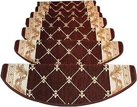 JIAJUAN Stair Carpet Treads Curved Shape Non Slip Self Adhesive Runner Floor Pads European Style, 2 Colors, 3 Sizes, Custo...