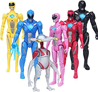 PIXEL ART Power Rangers Action Figures Toy 6 Pieces - Power Rangers Action Figure Super Heroes Set - Toys Play Gift Game