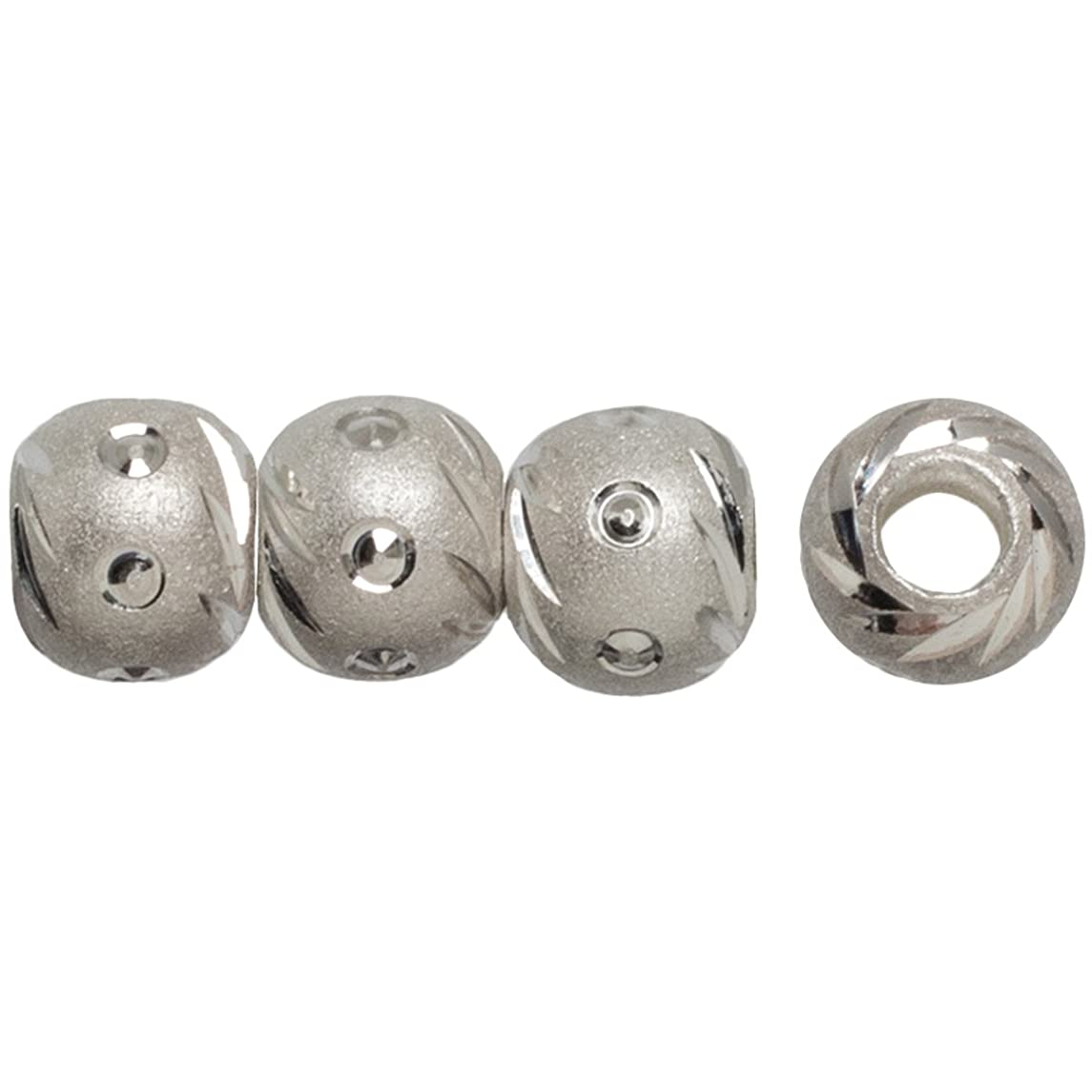 Cousin Plated Silver Elegance 8-Piece Silver Plate 6mm Carved Bead