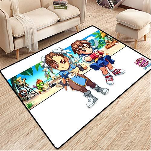 YUBAIBA Street Fighter Place Tapis, Crystal Tapis Velours, Chambre de Chevet antidérapante Mat, Couverture de Chevet, rectangulaire Tapis, Décoration d