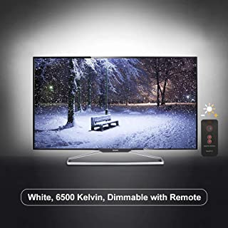TV Light Background Lighting USB Led Mood Backlighting For Monitor HDTV, Dimmable True White Lights, Eye Strain Reduce, 42 To 65 Inches TV (Strong Adhesive, IR Remote, S Shape Led Strip)