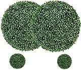 uyoyous 4 bolas de boj artificiales, 48 cm y 23 cm, redondas, bolas de boj realistas,...