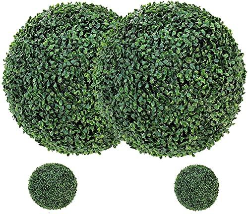 uyoyous 4 Stück Buchsbaumkugel Künstlich 48cm und 23 cm Buchsbaum Rund Pflanzenkugel Realistische Buchsbaum Kugel Künstliche Wetterfest für In- & Outdoor Kunstpflanze Formschnittkugel