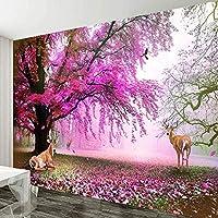 ranyan ロマンチックなピンクパープル桜の木大きな壁画のリビングルームのソファテレビの背景壁の装飾の絵画-400x280cm