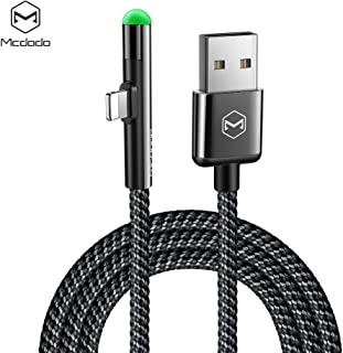 MCDODO 90 Degree Elbow Design Gaming Cable for Charger with Led Light (6ft 1.8m)