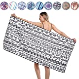 Agetp Microfiber Rectangle Beach Towel Blanket - Sand Free Pool Towels Quick Dry Super Absorbent Lightweight Oversized Large Towels for Travel Swimming Bath Yoga Gym Camping (Black Geometry,S)