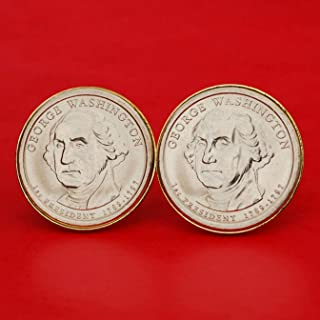 US 2007 Presidential Dollar BU Uncirculated Coin Gold Plated Cufflinks NEW - George Washington (1789−1797 Years Served) Obverses