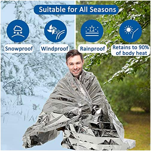 """ANCwear Emergency Blanket pack-12,Foil Mylar Thermal Blankets Space Blanket 52""""x82"""" for Outdoors,Hiking,Survival,or First Aid 4"""