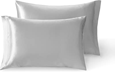 Satin Pillow Cases Set of 2 | Grey Satin Pillowcase for Hair and Skin | Silver Grey, Queen Pillow Case Covers, 20 x 30 Inch – Satin Weave Silky Comfort | Reduce Skin Irritation & Tame Frizzy Hair