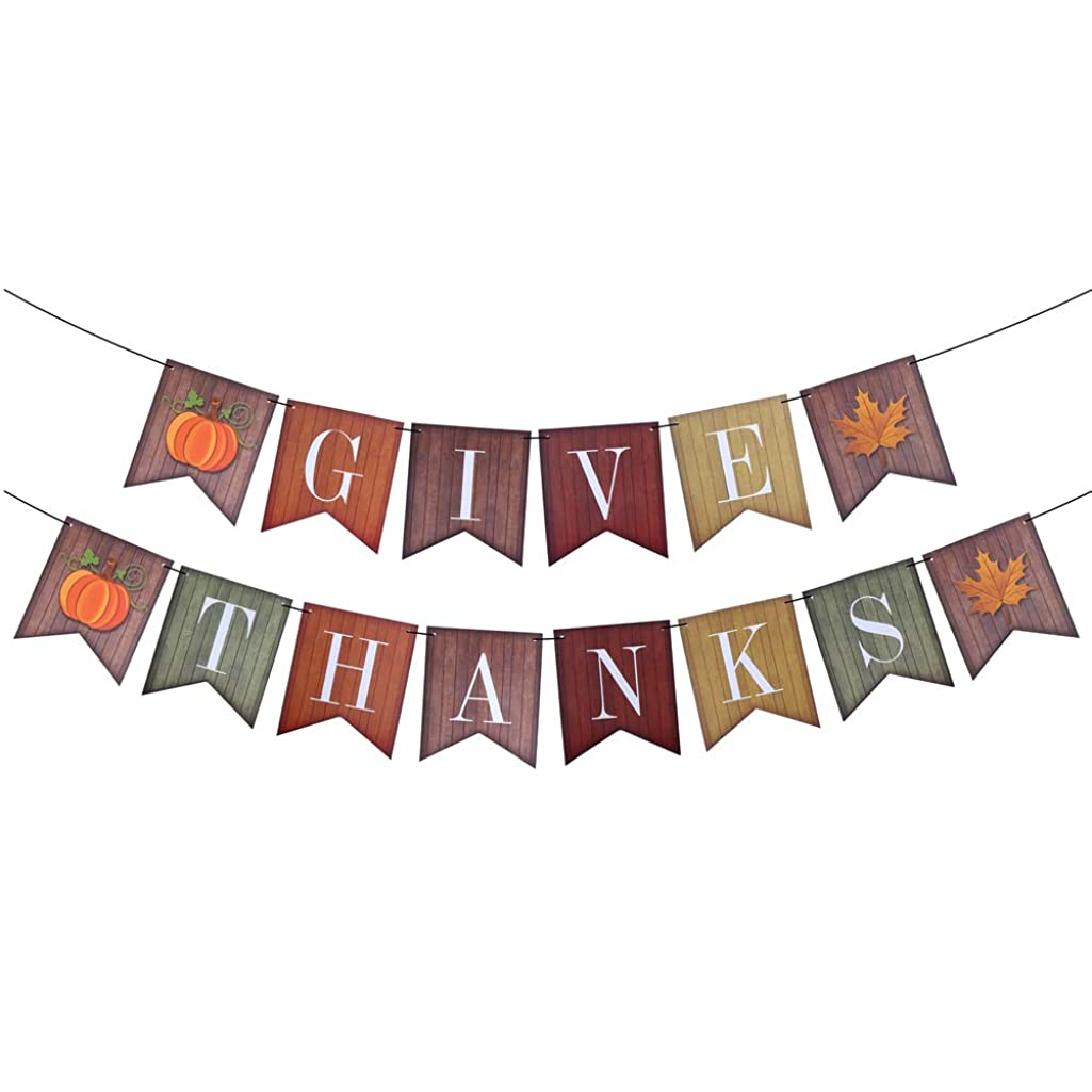 CCINEE Thanksgiving Paper Banner Give Thanks Decorative Bunting Garland for Thanksgiving Party Decoration