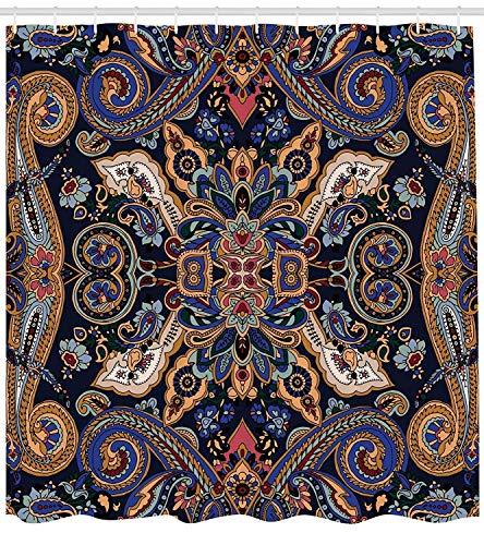 Paisley Marokkanische Blümchen Slawische Effekte Heritage Design Karamellviolett Blau Dunkler Lavendel Indigo Polyester Stoff Wasserdicht Duschvorhang Sets Mit Haken Kreatives Badezimmer Geschenk für