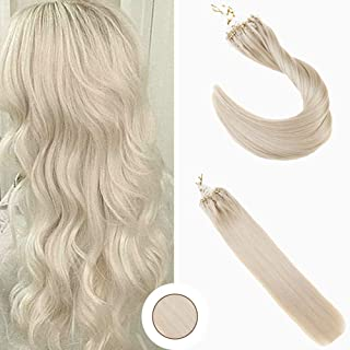 Ugeat Real Hair Microbeads Hair Extensions Bead Loop Color #60 Platinum Blonde Remy Hair 24inch 50g Per Package Long Micro Rings Hair Extensions