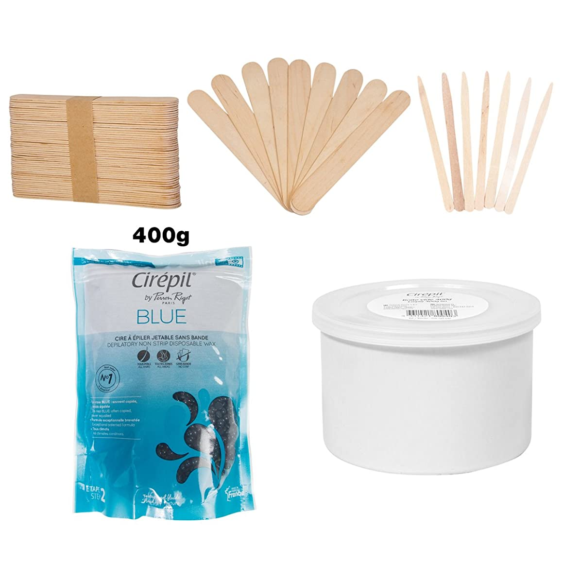 Cirepil Blue Bead (400g) Kit, Includes Empty Wax Can, 100 X-Small, and 60 Large Applicator Sticks