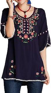 (アッシュランゲル) ASHERANGEL レディース 森ガール 花刺繍 ブラウス シャツ 半袖 トップス