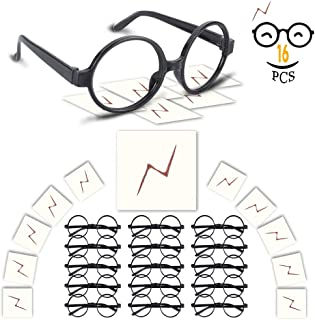 YoHold Wizard Glasses with Round Frame No Lenses and Lightning Bolt Tattoos for Kids Halloween, St Patrick's Day Costume Party, 16 Pack of Each, Blac