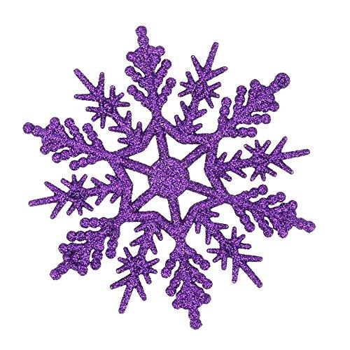 Demiawaking 24Pcs Fiocchi Di Neve Decorazione Dell'Albero Di Natale 10Cm Fiocco Di Neve Di Glitter Di Plastica Ornamenti Festivi Festa Party Decorazione Domestica (Viola Scuro)