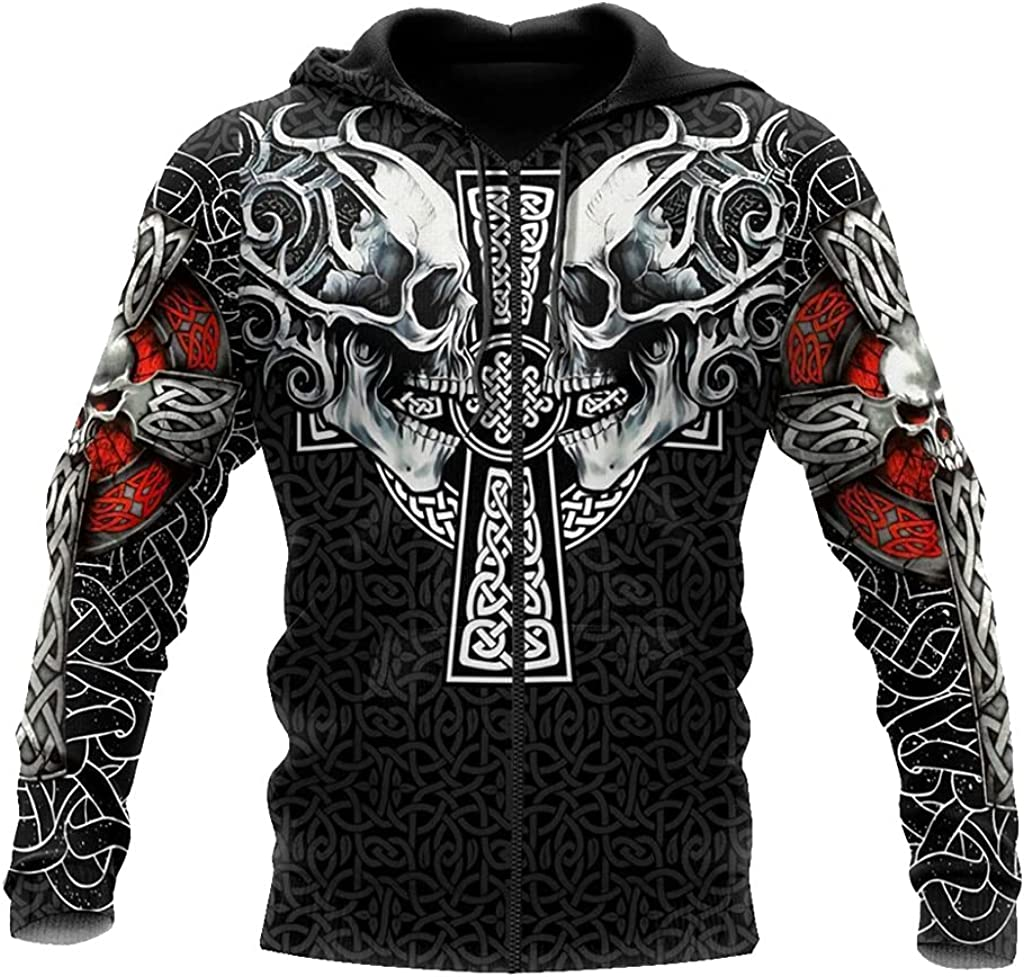 Viking Hoodie,3D Print with Cross Knot and Skull Pattern Casual Loose Zip Sweatshirt Unisex Casual Harajuku Style Coat
