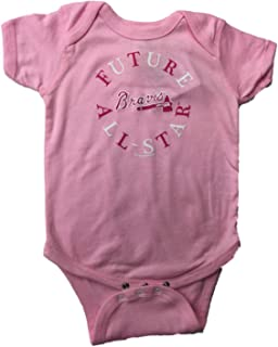Atlanta Braves SAAG Infant Baby Girl Pink Future All-Star One Piece Outfit