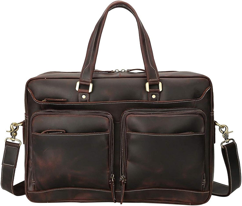 Olprkgdg Tragbare Aktentasche aus Leder mit großer Kapazität 17 Zoll Laptop-Tasche Umhängetasche (Farbe   Dark braun) B07MVYTRXV