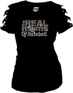 Real Moms of Baseball Bling Rhinestones T-Shirt Ripped Cut Out Short