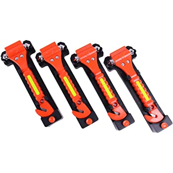 GoDeCho 4 Pack Car Emergency Escape Window Breaker and Seat Belt Cutter Hammer with Light Reflective Tape,Life Saving Survival Kit